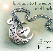 Sister in Law I Love You to the Moon and Back Necklace - Sister in Law Gift