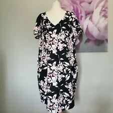 M&S Womens Blue Floral Print Short Sleeve Shift Dress Size 24 Cotton Blend
