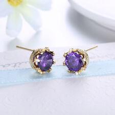 18K Yellow Gold Filled Purple Cubic Zirconia Stud Earrings