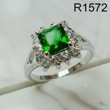 Green Emerald Women Ring 18K white gold filled Wedding Valentine's Gift R1572
