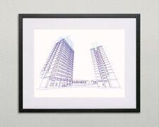 Tower Block Line Art Screen Print by Ben Whittington