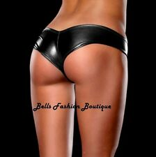 Ladies Micro Metallic Black Sexy Wet Look Stripper Dancer Hot Pants 4 6 8 £5.99