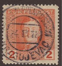AUSTRIA / SERBIA. FELDPOST. 1918. WW1. POSTMARK KRAGUJEVAC. KARL 2h ORANGE.