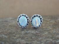 Small Native American Jewelry Sterling Silver Opal Oval Post Earrings! Navajo In