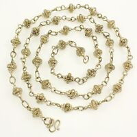 "Vintage Silver Tone BOHO Style Cantenille Bead Station Chain Necklace 43"" Long"