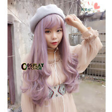 Lolita Thin Bang Light Purple Curly Ombre Long Heat Resistant Party Cosplay Wig