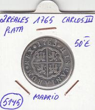 F5145 MONEDA ESPAÑA 2 REALES PLATA 1765 CARLOS III