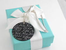 Brand New Tiffany & Co Silver Black Onyx Large Notes Round Circle Necklace