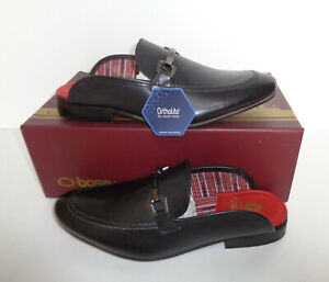 Base London Mens Black Slip On Leather Backless Casual Shoes New RRP £70 Sizes