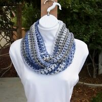Blue Gray White Small Short Winter Infinity Loop Scarf Soft Crochet Knit Women's