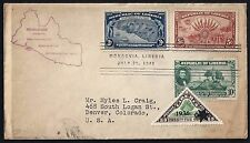LIBERIA 1940 FDC 100th ANNIV SET OF THE FOUNDING OF THE COMMONWEALTH 1936 STAMP