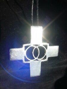 Divine Trinity Union Secret Vesica Piscis Cross in sterling,CHARM,pendant,SILVER