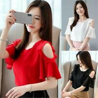 Women Cold Shoulder Flare Sleeve Solid Summer Ruffle Blouse Top Chiffon T Shirt