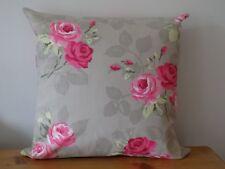 "Handmade Cushion Cover 'Nancy Taupe' Clarke & Clarke 100% Cotton Canvas 16"" Zip"