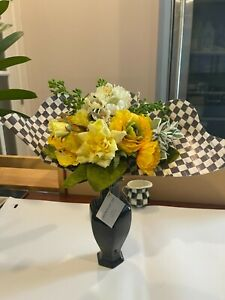 MacKenzie Childs Courtly Check Queen Bee Bouquet Large yellow Flowers