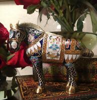 Rare Antique/Vintage Chinese Cloisonne Enamel Horse Figurine Multicolored