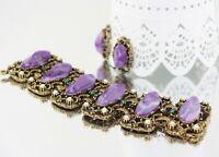 Vintage Unsigned Selro Ornate Gold Purple Marble Lucite Bracelet Earring Set