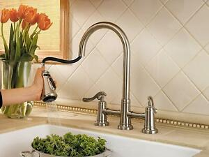 Pfister Ashfield LG531-YPK Brushed Nickel Pull Down Spray Bridge Kitchen Faucet