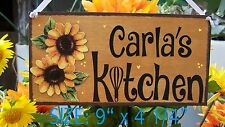 PERSONALIZED SUNFLOWER SIGN KITCHEN ANY NAME STAINED PLAQUE COUNTRY PRIM DECOR