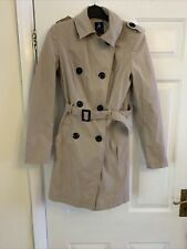 ATMOSPHERE LADIES DOUBLE BREASTED BEIGE TRENCH COAT/MAC SIZE 8.USED