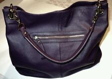 CUORE & PELLE  Extra Large Pebbled Leather Dark Plum Tote Handbag