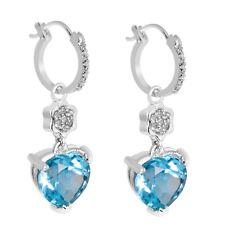 Heart Shape Blue Topaz Earrings 925 Sterling Silver Dangle Drop Earrings 5.25Gms