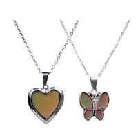 2pcs Women Men Sensitive Thermo Mood Colors Change Pendant Necklace Jewelry