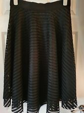 New Look Black A Line Net Skirt Lined Stretch Waist Silver Back Zip Size 14 VGC