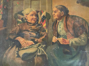 """19th c. Oil Painting/Signed """"Two Women Having a Conversation"""""""