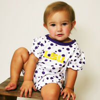 NCAA LSU Tigers Baby Romper Polka Dot Newborn 6 12 Months Infant Kids