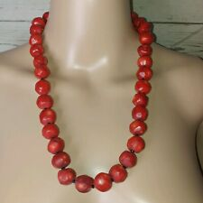 Bamboo Coral Red Chunky Beads Necklace with black stone silver tone clasp