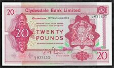 More details for £20 c/a first rare clydesdale banknote fairbairn 1964 cl51a gef