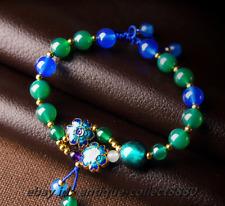 Chinese Palace Style Coloured Glaze/Green-Blue Agate/Cloisonne Enamel Bracelet