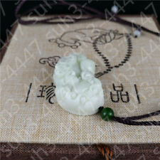 Chinese Natural White Jade Dragon Pendant Necklace Pixiu Amulet Charm Jewelry C3