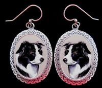 Border Collie original art earrings