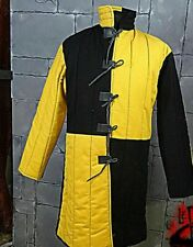 Medieval Reenactment Gambeson Armour Fancy Design Yellow & Black Color