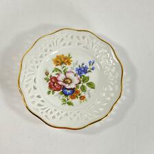 Kleiber Bavaria Vintage W Germany Plate Dish Flowers Reticulate Gold Trim