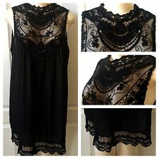 WOMENS PLUS DRESS 1X NEW BLACK LACE TUNIC TOP XL 14 16 NWT GORGEOUS SUMMER DEAL