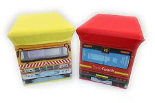 2 in 1 FOLD AWAY KIDS STORAGE BOX WITH PADDED SEAT UNISEX SCHOOL BUS  DUMP TRUCK