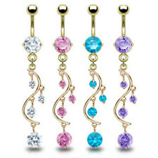 Gold Plated Navel Ring Prong Solitare Round CZ vine Dangle