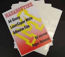 10 A4 Stampante Laser Bianco Adesivo Adesivo Pellicola Fogli 80mic Carta release