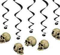 5 SKULL HALLOWEEN SWIRLS PARTY HANGING DECORATIONS PROPS HAUNTED HOUSE WITCH