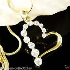 Gold Plated w Swarovski Crystal Valentine Heart Love Pendant Charm Necklace Xmas