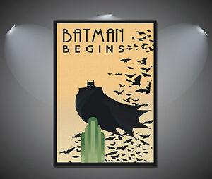 Batman Begins Dark Knight Movie Vintage Art Deco Poster - A1, A2, A3, A4 sizes