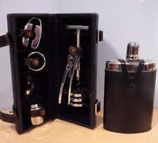 Wine Bar tools in Travel Case + Black Leather Covered Flask