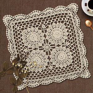 Retro Square Tablecloth Vintage Hand Crochet Cotton Lace Table Cloth Beige Cover