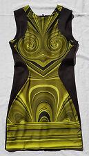EX CON Romance was Born Size M Dress Scuba Green Swirl Black Event Bodycon Party