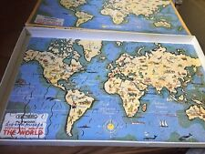 PICTORIAL WORLD MAP VICTORY VINTAGE PLYWOOD JIGSAW PUZZLE  BOXED COMPLETE