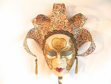 Venetian Mask on a Stick Ivory and Gold Carnival Mardi Gras - Venice Italy - B