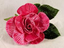 Velvet Rose Pink Millinery Bridal Flower Crown Corsage Wedding Crafts 3 inch